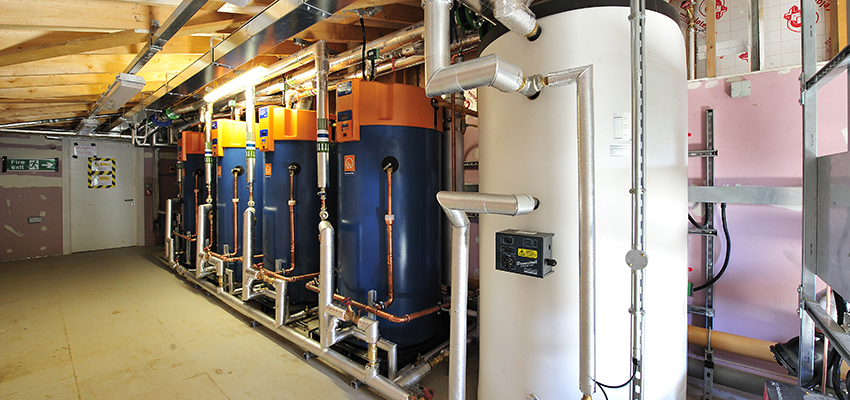 Dorchester DR-FC Evo water heaters and Powerstock storage tank installed at Nottingham University.