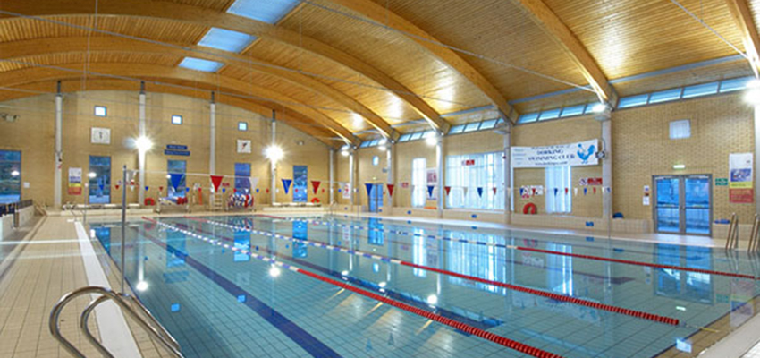 Swimming pool at Dorking Sports Centre.