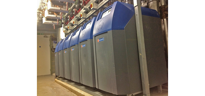 ErP-compliant Purewell Variheat cast iron condensing boilers installed at the Marlowe Theatre in Canterbury.