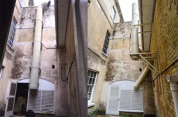 The old and new boiler flue system for this listed building