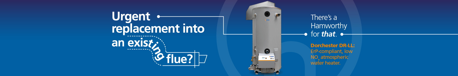 Atmospheric water heater for urgent replacements