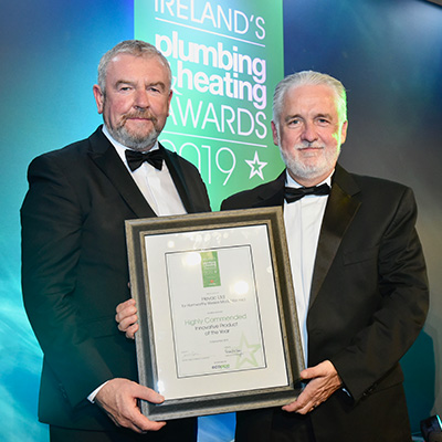 Karl Carrick from Hevac (right) and Macartan McCague from Ecopipe IRL, Sponsort of the Innovative Product of the Year Award