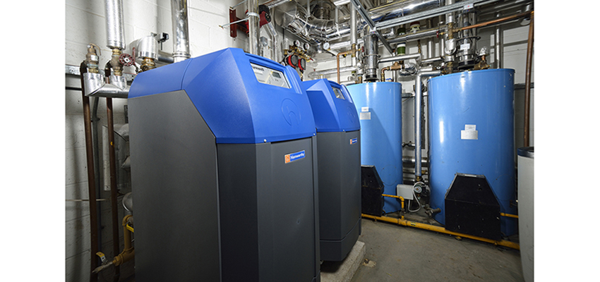 Purewell cast iron condensing boilers and water heaters installed at Forest Holme Hospice in Poole.