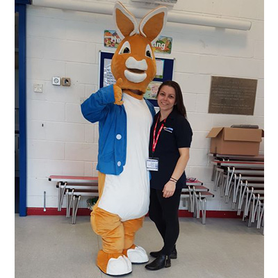 Peter Rabbit and Kelly Higgins from Hamworthy's service team who is also trustee of the school's charity.