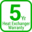 5-year heat exchanger warranty